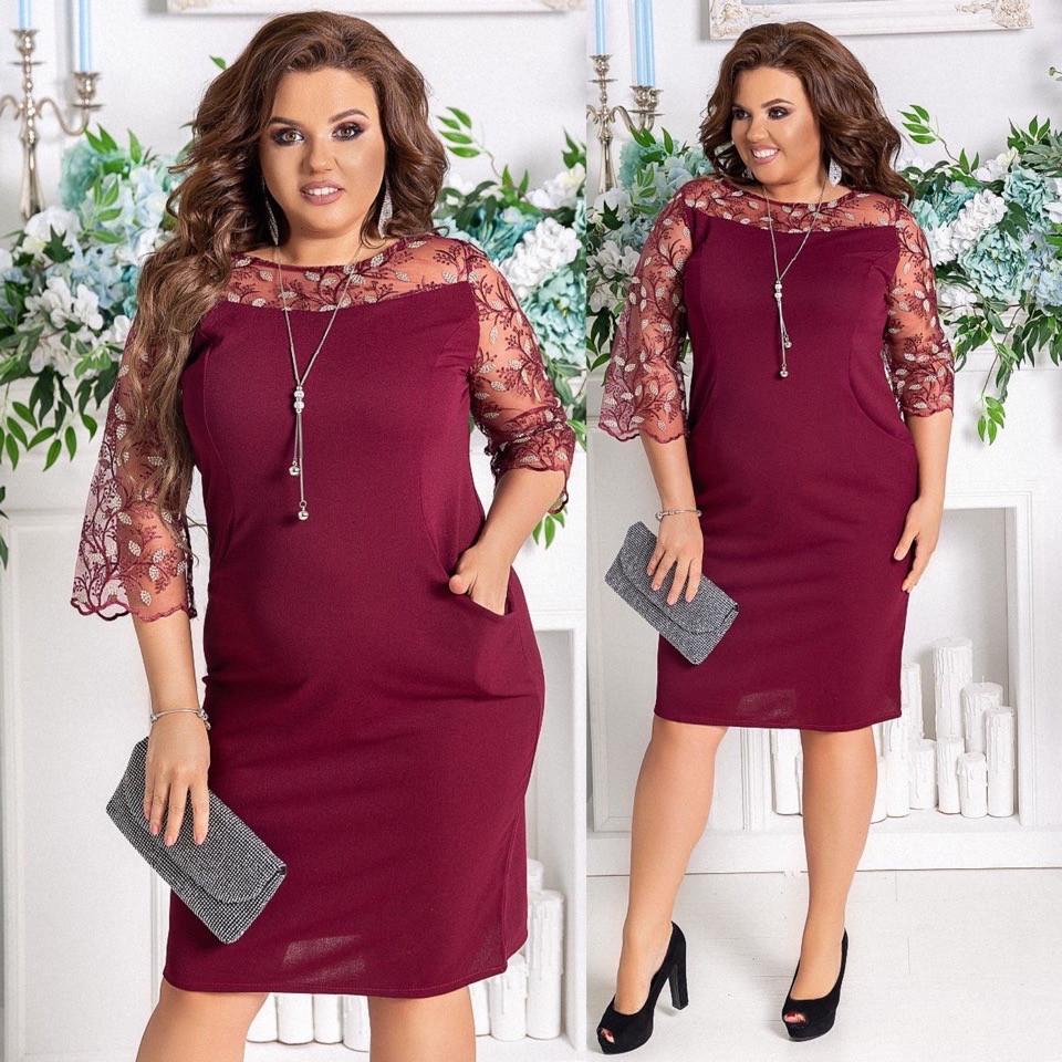 Женское платье нарядное приталенное креп дайвинг+гипюр на сетке рукав сеткой размер: 48-50, 52-54, 56-58