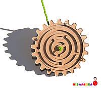 Заготовка для Бизиборда Деревянная Шестеренка - Лабиринт с Шариком 9см дерев'яні шестерінки з бісером бізіборд, фото 1
