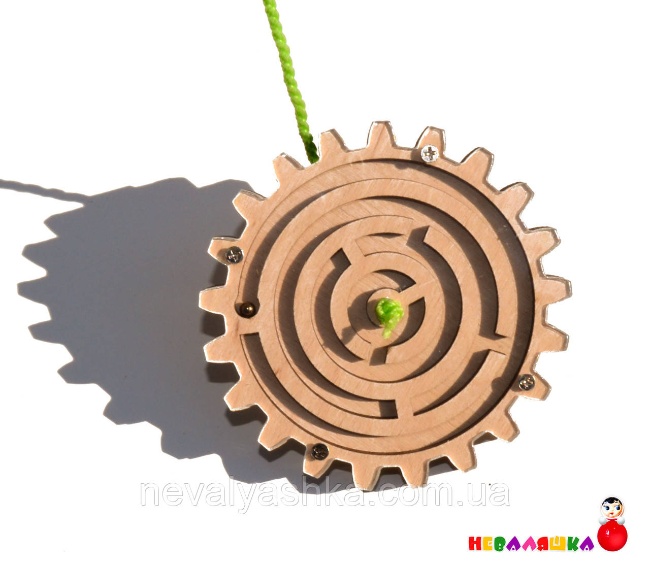 Заготовка для Бизиборда Деревянная Шестеренка - Лабиринт с Шариком 9см дерев'яні шестерінки з бісером бізіборд