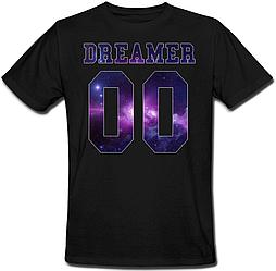 Мужская именная футболка DREAMER - Space (принт спереди) [Цифры можно менять] (50-100% предоплата)