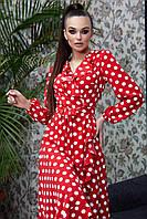 Романтичное платье с пышной юбкой в горох (4 цвета, р.S-XL)