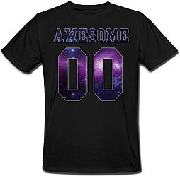 Мужская именная футболка AWESONE - Space (принт спереди) [Цифры можно менять] (50-100% предоплата) XXL