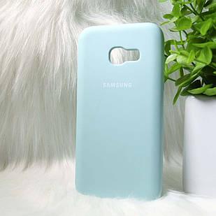 Силиконовый чехол Original Silicone case Samsung A320 / A3 2017 Mint (голубой)