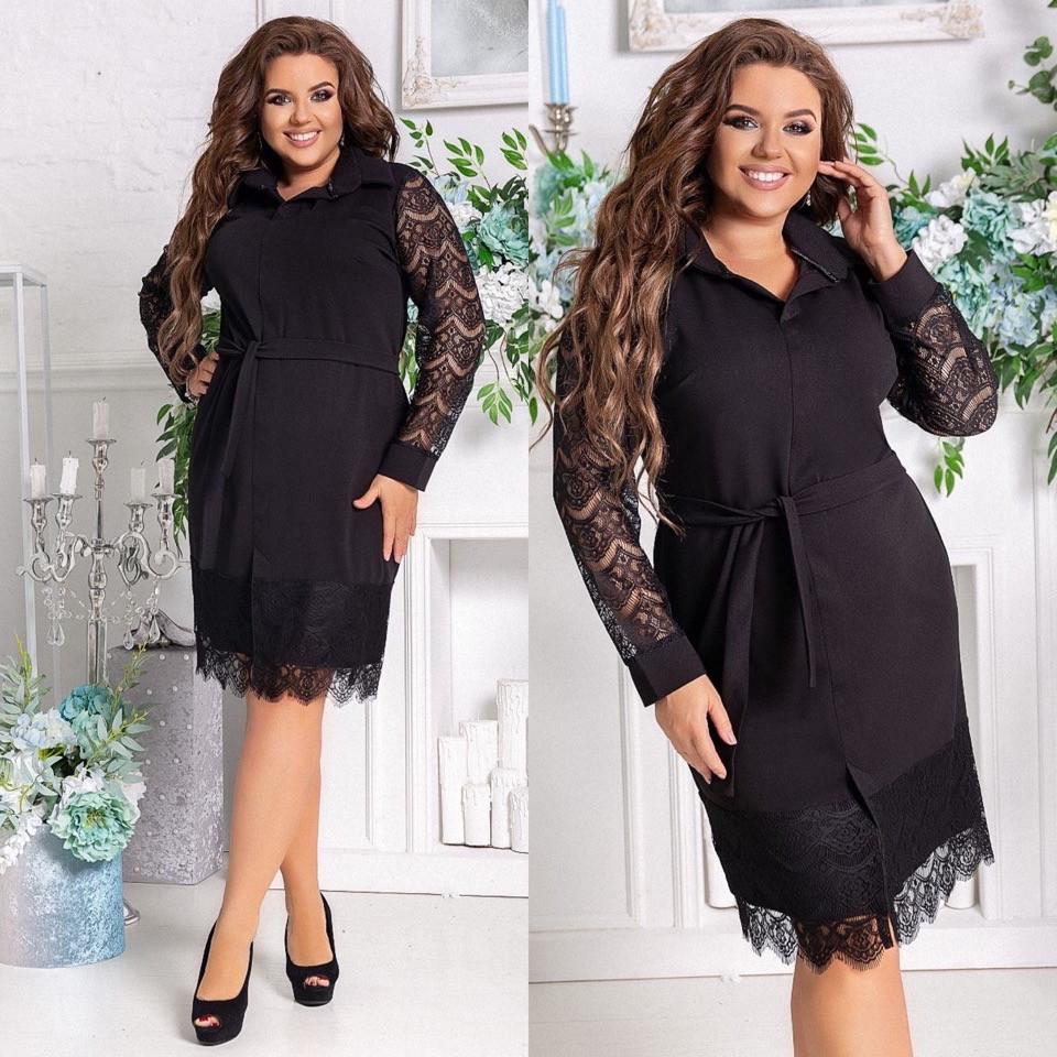 Женское платье нарядное приталенное креп дайвинг+ресничка размер: 48-50, 52-54, 56-58