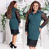 Женское платье нарядное приталенное креп дайвинг+ресничка размер: 48-50, 52-54, 56-58, фото 3