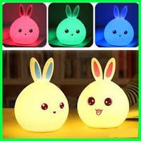 Детский мягкий силиконовый ночник Rabbit Silicone Lamp, LED лампа, светильник силиконовый