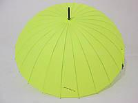 Зонт-трость на 24 спицы  механика однотонный лимонный