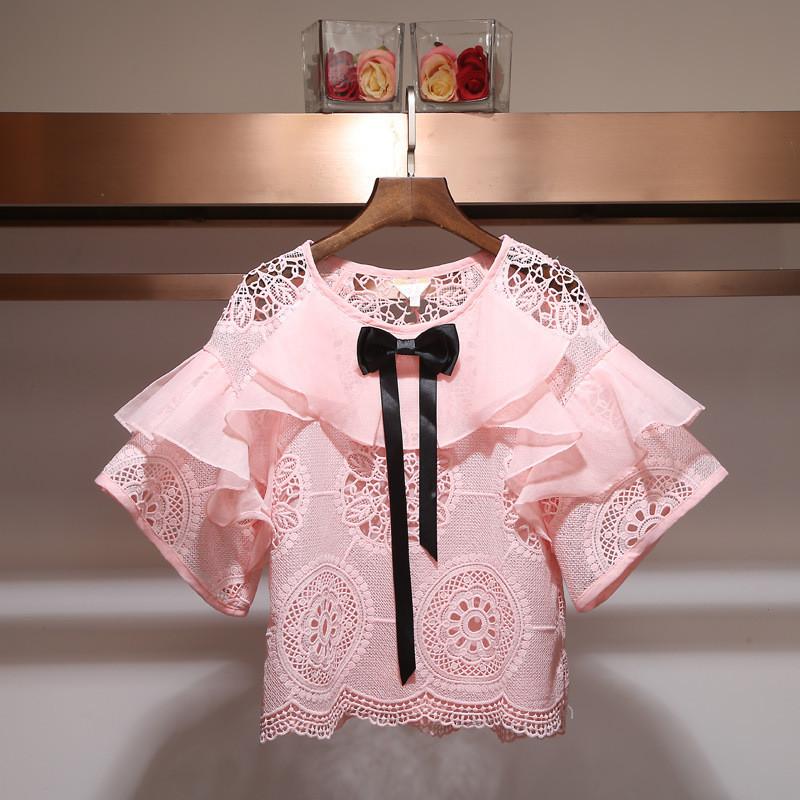 Мереживна блузка з пишними рюшами 42-44 (в кольорах)