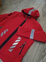 Ветровка куртка мужская красная с капюшоном и принтом Off White демисезонная