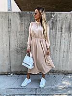 Женское свободное платье с резинкой на талии и длинным рукавом миди длины батал