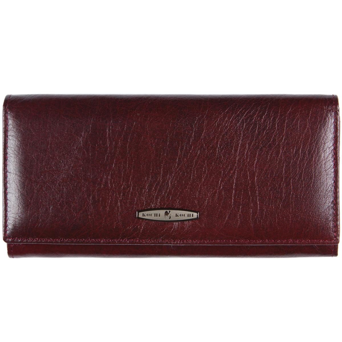 Женский кожаный кошелёк KOCHI застёжка кнопка 185х90х30 вишнёвый  м К-В124виш