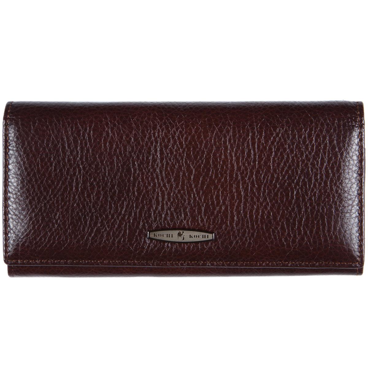 Женский кожаный кошелёк KOCHI коричневый 185х90х30 застёжка кнопка  м К-В124кор