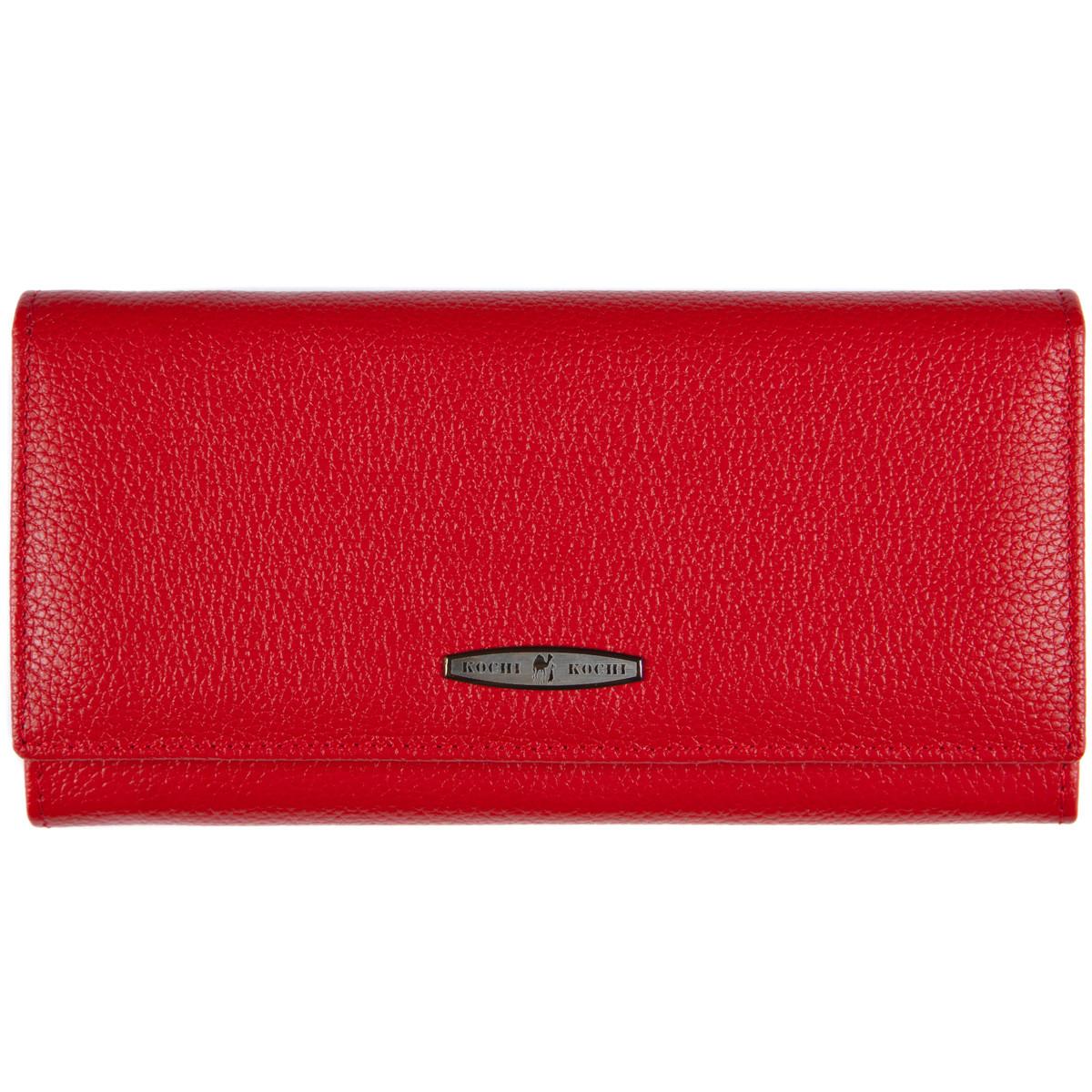 Кожаный женский кошелёк KOCHI красный 185х90х30 застёжка кнопка  м К-В124кр