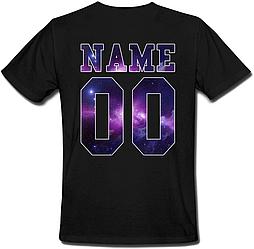 Мужская именная футболка Space (принт сзади) [Цифры и имена/фамилии можно менять] (50-100% предоплата)