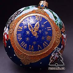 Стеклянный шар на елку Новогодние часы ЛС 2002