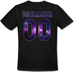Мужская именная футболка DREAMER - Space (принт сзади) [Цифры можно менять] (50-100% предоплата)