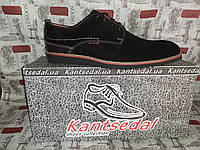 KANTSEDAL мужские фирменные замшевые туфли на шнурках чёрные