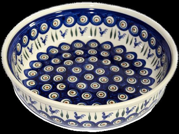 Большая круглая керамическая форма 28 для выпечки и запекания Петушки, фото 2