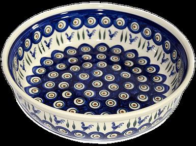 Большая круглая керамическая форма 28 для выпечки и запекания Петушки