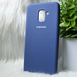 Силіконовий чохол Original Silicone Case Samsung A730/A8+ 2019 Dark blue (синій)