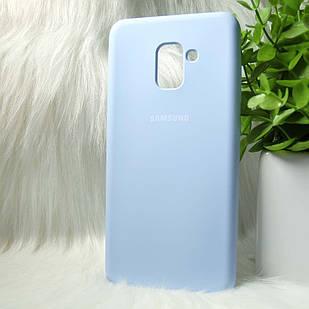 Силіконовий чохол Original Silicone Case Samsung A730/A8+ 2019 Light blue (темно-синій)
