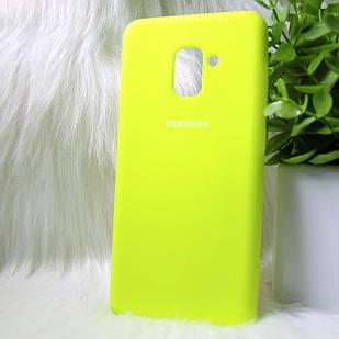 Силіконовий чохол Original Silicone Case Samsung A730 / A8 + 2019 Lime (жовтий)