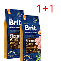 Корм Brit Premium by Nature Adult М Брит Преміум едалт дог М для собак 15 кг 1 + 1