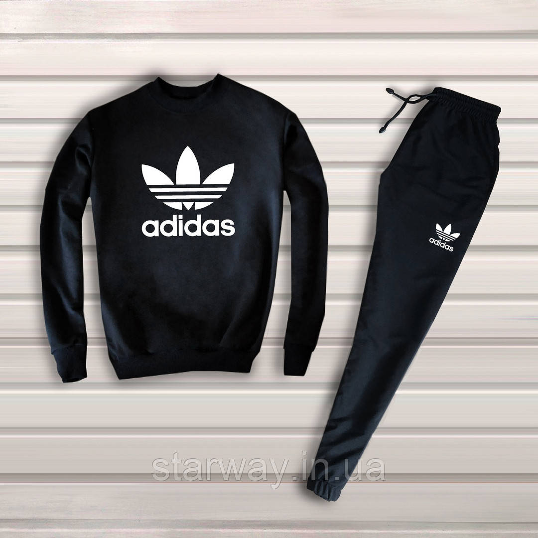 Мужской черный спортивный костюм Adidas | адидас лого