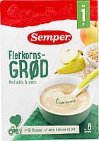 Каша цельнозерновая  молочная  с грушей  яблоком  (250 г) 12+ Semper