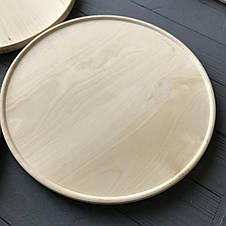Тарелка-поднос деревянная с вертикальными бортиками диаметром 29 см, фото 3