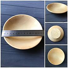 Широкая деревянная тарелка-пиала средней глубины с плавным переходом 15 см