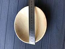 Широкая деревянная тарелка-пиала средней глубины с плавным переходом 15 см, фото 2