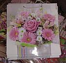 Подарочный бумажный пакет КВАДРАТ 24*24*10 см Букет из роз, фото 2