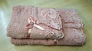 Набор махровых полотенец 2 шт  Вуалька розовая, фото 2