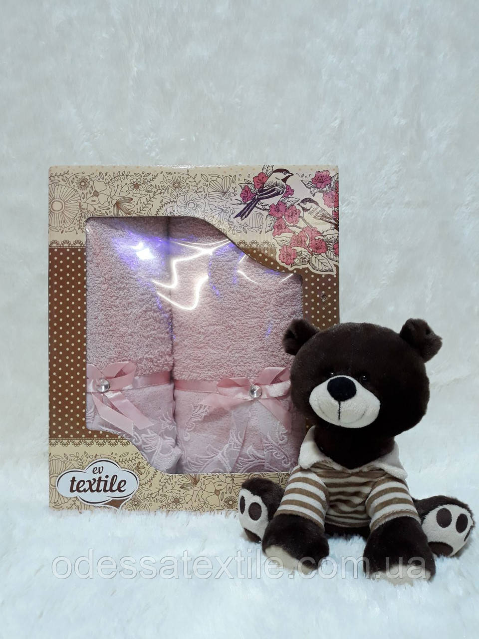 Набор махровых полотенец 2 шт  Вуалька розовая
