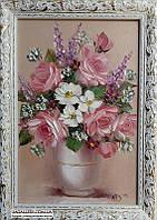 Розовая нежность цветов картина маслом