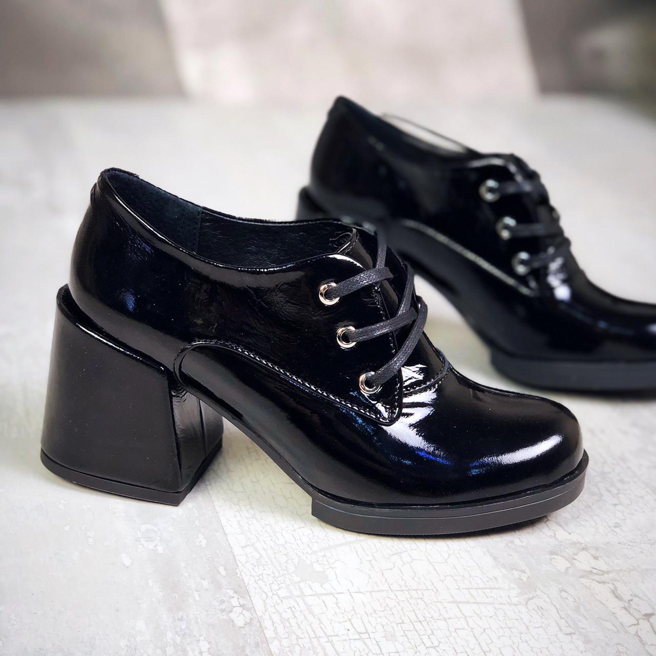 Модные  туфли на каблуке кожа лак  36-40 р чёрный