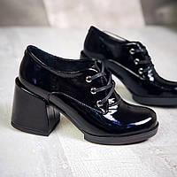 Модные  туфли на каблуке кожа лак  36-40 р чёрный, фото 1