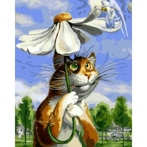 Картина по контуру Котик по ромашкой (H004) 25*35 ...