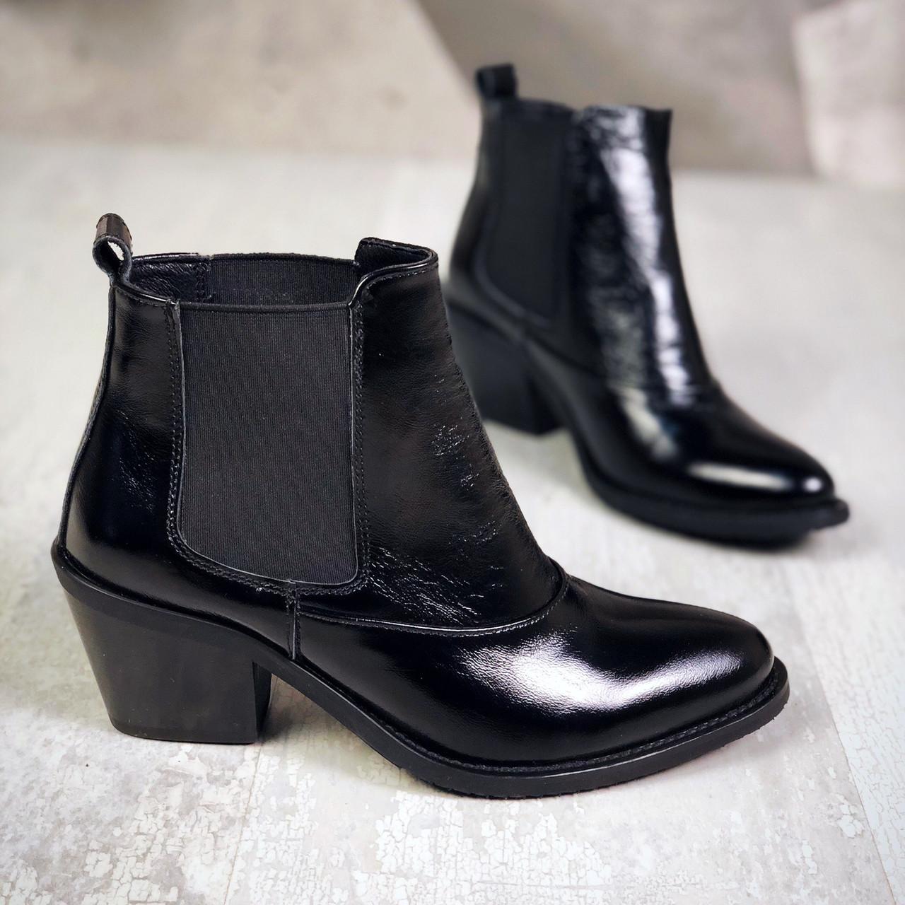 Кожаные ботинки на устойчивом каблуке 37,39 р чёрный