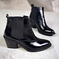 Кожаные ботинки на устойчивом каблуке 37,39 р чёрный, фото 1