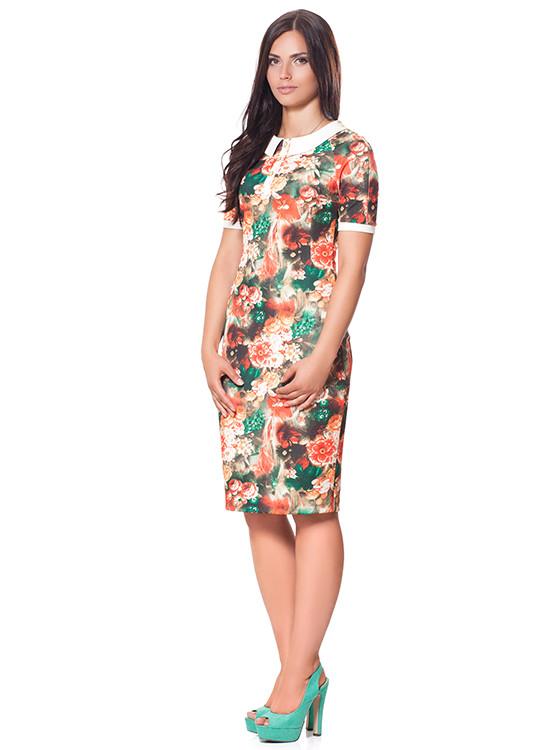 Яркое женское платье с белым воротничком (S-XL)