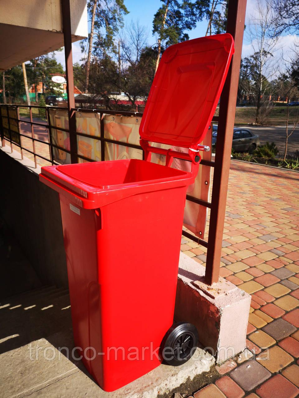 Контейнер для мусора на колесах 120л красный