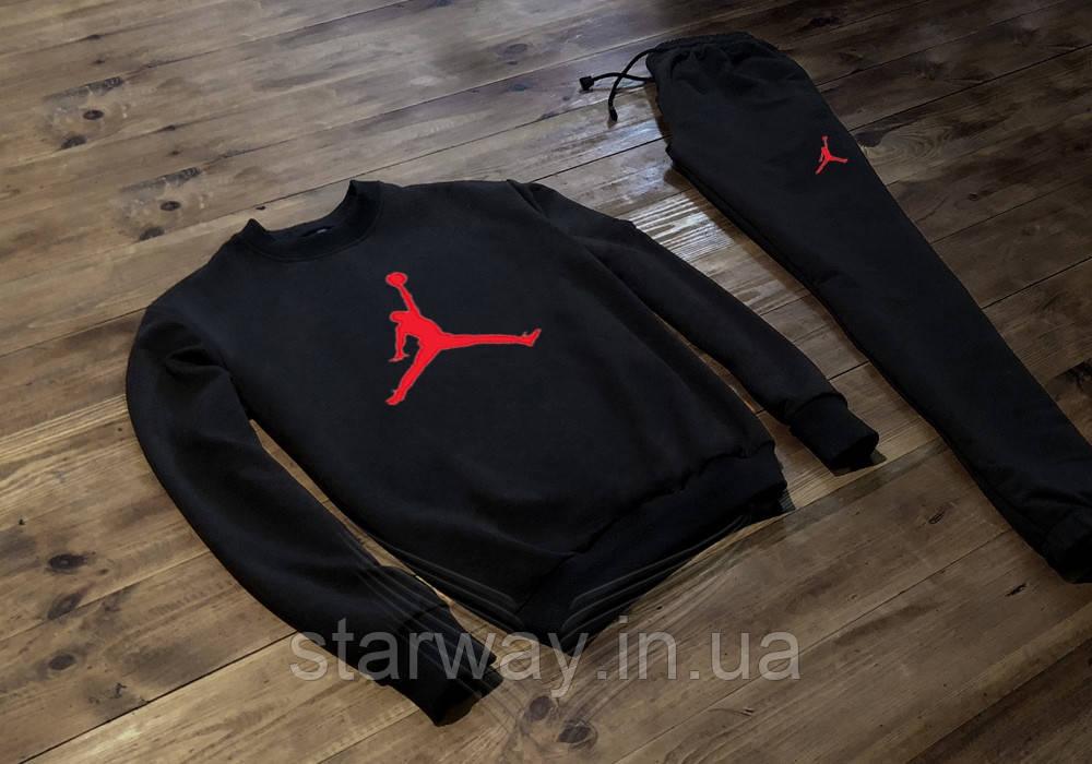 Черный спортивный костюм Jordan | красное лого