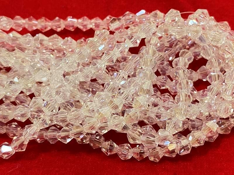 Бусина стекло, биконус, хрусталь, Цвет: прозрачный перелив, 4 мм