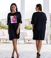 """Летнее платье- футболка  свободного кроя """"Тренди"""" до 60 размера, фото 1"""