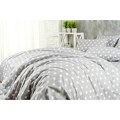 Постельное белье поплин DeLux Звездный серый ТМ Moonlight Евро-семейный 160х215 2шт