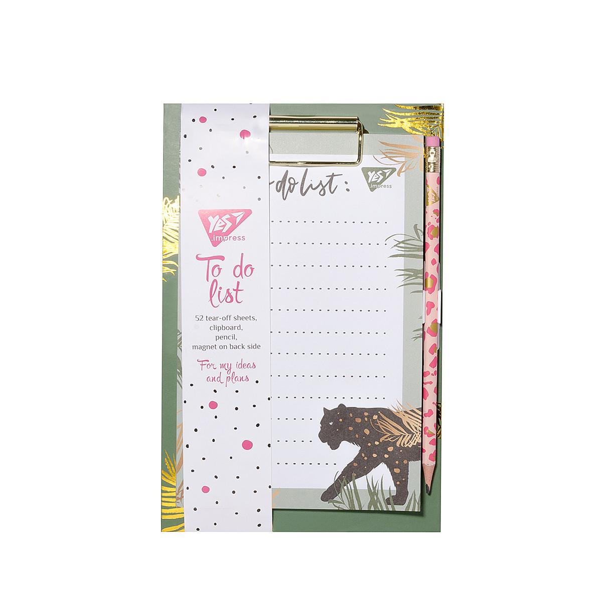 Бумага для заметок YES To Do VIVERE, клипборд с магнитом, карандаш, блок 52 листа  код:170253