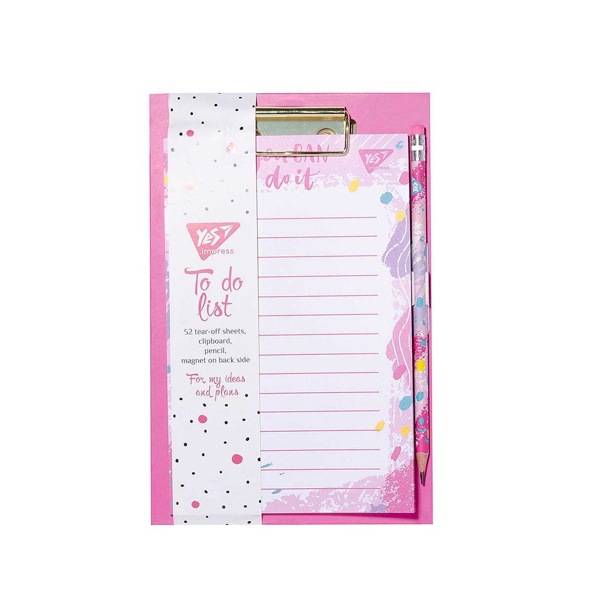 Бумага для заметок YES To Do HOTCH POCH, клипборд с магнитом, карандаш, блок 52 листа  код:170260