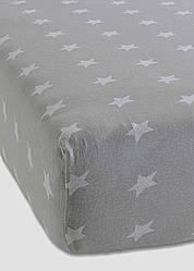 Простынь на резинке с наволочками поплин DeLux Звездный серый ТМ Moonlight 160х200х20 см+50х70 2 шт